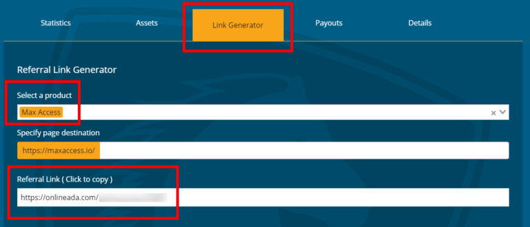 A screenshot of the Link Generator tab of the referrals section, highlighting the product selection field and the generated referral link that the user can copy