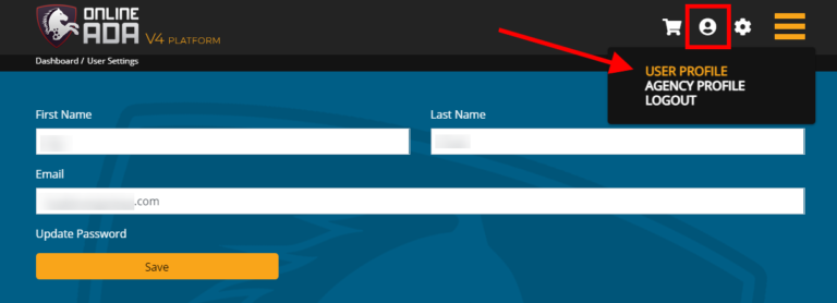 A screenshot of the User Settings page on the Online ADA dashboard, highlighting the Profile Settings button in the header that users must select, and pointing to the User Profile option with an arrow to indicate that it is the option users should select.
